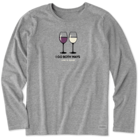 Life is Good Womens Crusher L/S Tee, Red & White Wine