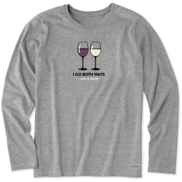 Life is Good Womens Crusher L/S Tee  Red & White Wine