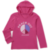 Girls L/S Hooded, Peace Colourblock