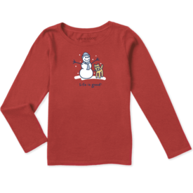 Life is Good Girls L/S Crusher Tee, LIG Snowman