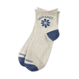 Life is Good Womens Anklet Socks, Have a Nice Daisy, Heather Oatmeal