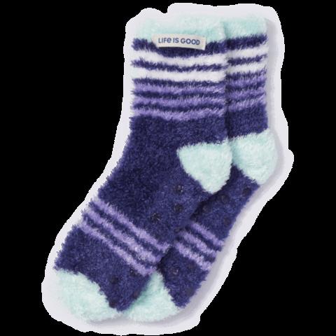 Womens Feathersoft Socks, Stripes, Darkest Blue