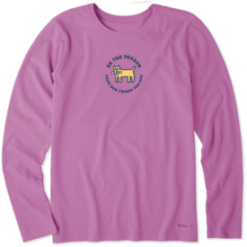 Life is Good Womens Crusher L/S Tee, Vintage Be the Person Your Dog Thinks You Are