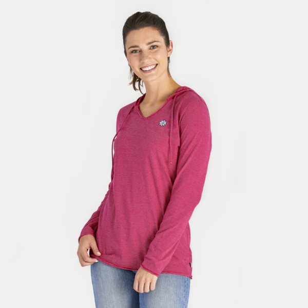 Life is Good Womens L/S Hooded Tee, Daisy