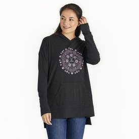 Life is Good Womens Supreme Hooded Pullover, Wildflower Mandala