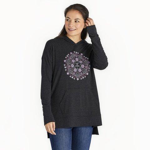 Womens Supreme Hooded Pullover, Wildflower Mandala
