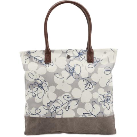 All in One Tote, Flowers Wander Free, Khaki