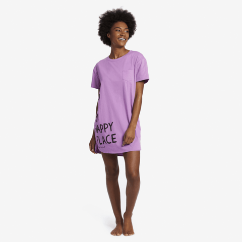 Womens L/S Sleep Dress, Sleep Happy