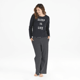 Life is Good Womens Snuggle Up Sleep Pant, Stripes