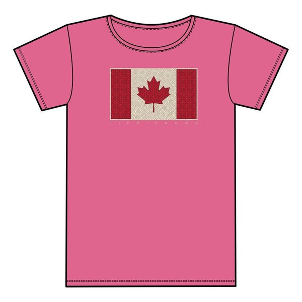 Life is Good Girls Crusher Tee, LIG Canada Flag