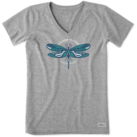 Womens Crusher Vee, Change is Good Dragonfly