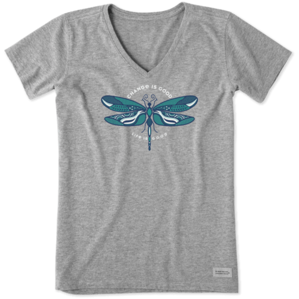 Life is Good Womens Crusher Vee, Change is Good Dragonfly