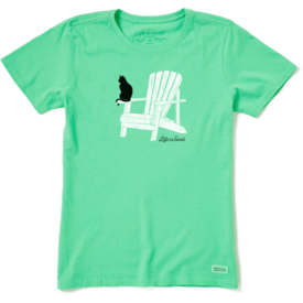 Life is Good Womens Crusher Tee, Cat on Adirondack Chair