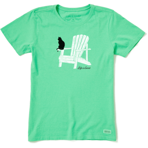 Womens Crusher Tee, Cat on Adirondack Chair