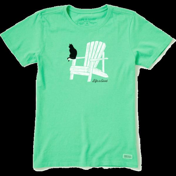 Life is Good Womens Crusher Tee Cat Adirondack Chair Muskoka