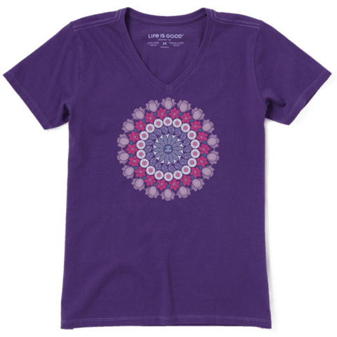 Womens Crusher Vee, Floral Mandala