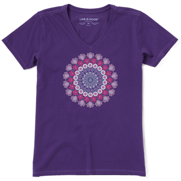 Life is Good Womens Crusher Vee, Floral Mandala