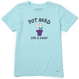 Life is Good Womens Crusher Tee, Pot Head