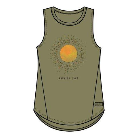 Womens High-Low Crusher Tank, Radiate Love Sun