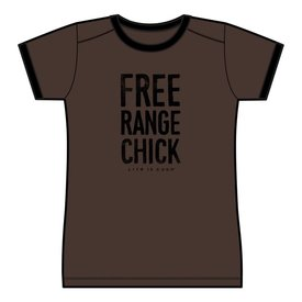 Life is Good Womens Ringer Cool Tee, Free Range Chick