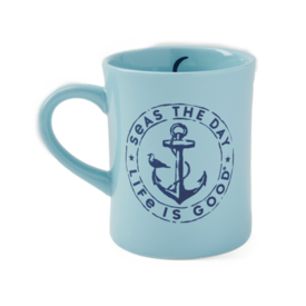 Diner Mug, Seas the Day, Beach Blue