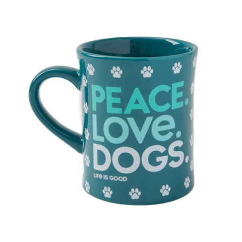 Diner Mug, Peace, Love, Dogs, Persian Blue