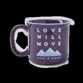 Happy Camper Mug, Love Will Move Mountains, Deep Purple