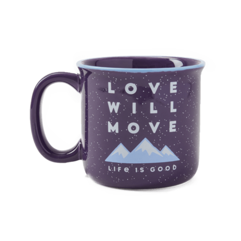 Happy Camper Mug, Love Will Move Mountains, Deep Purple