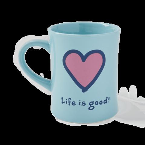 Diner Mug, Heart, Beach Blue