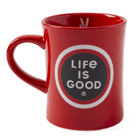 Diner Mug, Life is Good, Faded Red