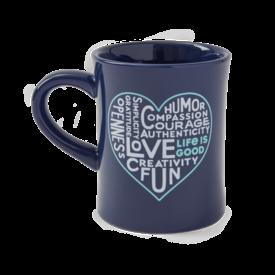 Diner Mug, Superpowers Heart, Darkest Blue