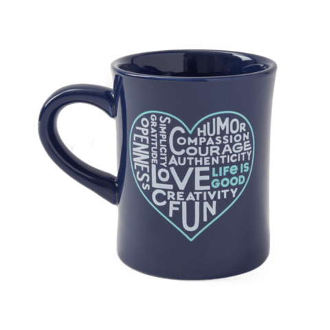 Diner Mug, Superpowers Heart, Darkest Blue
