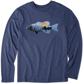 Life is Good Men's L/S Cool Tee, Fishing Vista