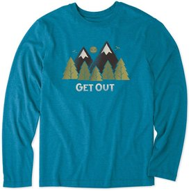 Life is Good Men's L/S Cool Tee, Get Out Mountains