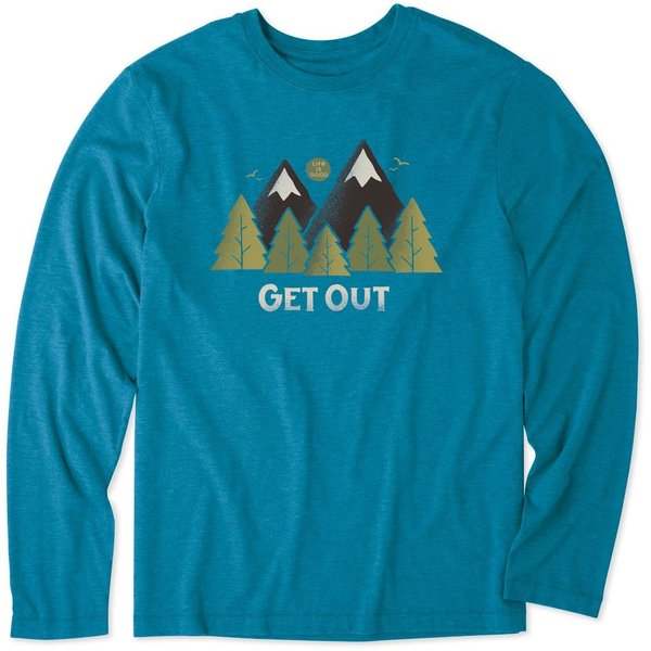 Life is Good Men's L/S Cool Tee, Get Out Mountains Trees