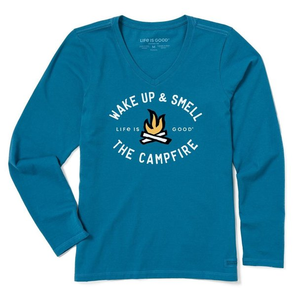 Life is Good Womens Crusher L/S Tee Wake Up and Smell the Campfire