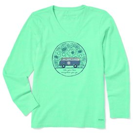 Life is Good Womens Crusher L/S Vee, Love Bus
