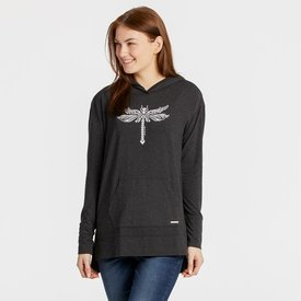 Life is Good Womens Supreme Hooded Pullover, Dragonfly