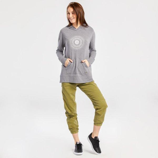 Life is Good Womens Supreme Hooded Pullover, radial Sunburst