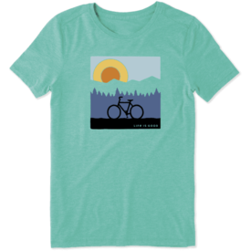 Life is Good Womens Cool Tee, Sunrise Bike