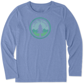 Life is Good Womens L/S Cool Tee, Tree Coin