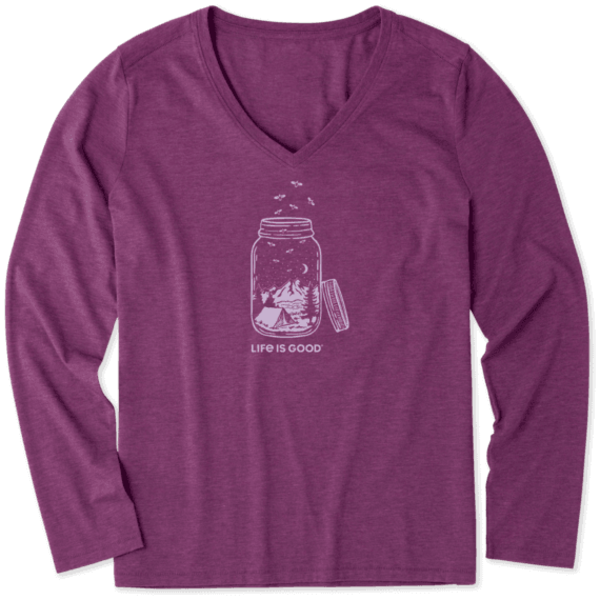 Life is Good Womens L/S Cool Tee, Camp Jar
