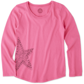 Life is Good Girls L/S Smooth Tee, Star