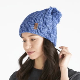 Life is Good Slouchy Pom Beanie, Vintage Blue