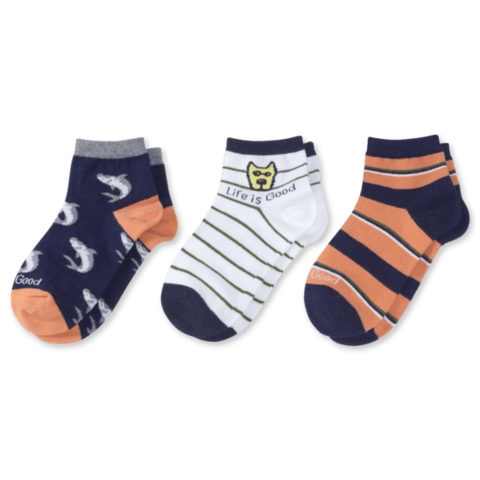 Boys 3-Pack Quarter Socks, Rocket & Shark
