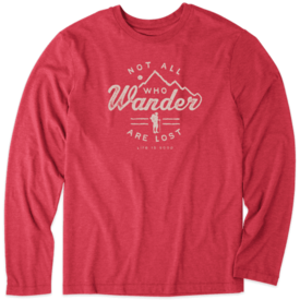 Life is Good Men's L/S Cool Tee, Not All Who Wander