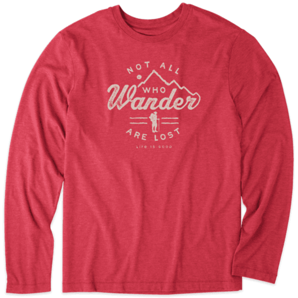 Life is Good Men's L/S Cool Tee, Not All Who Wander Are Lost