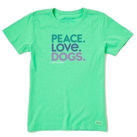 Life is Good Womens Crusher Vee, Peace, Love, Dogs