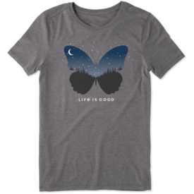 Life is Good Womens Cool Tee, Celestial Butterfly