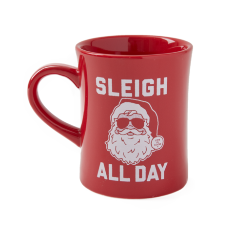 Diner Mug, Sleigh All Day Santa, Positive Red